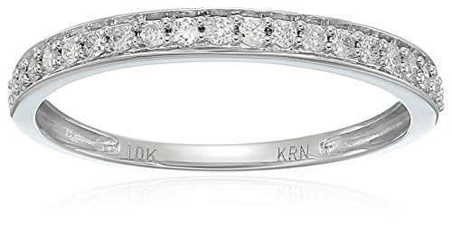 10k White Gold Round Diamond Wedding Band (1/5 cttw,I-J Color, I2-I3 Clarity), Size 6 by Amazon Collection