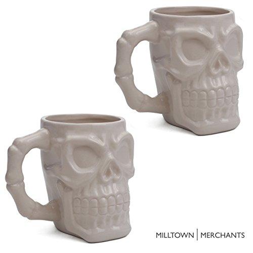 Milltown Merchants™ White Skull Mug Set - Skull Beer Stein Tankard - Pack of 2 - Ceramic Skull Coffee Mugs - Gothic Beer Mugs - HUGE 32 Ounce (Ceramic Tankard)