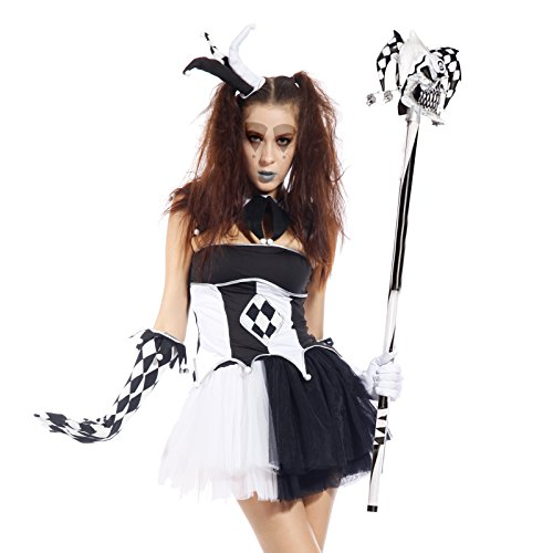 Ladies Tricksterina Harlequin Jester Clown Circus Halloween Fancy Dress Costume ()