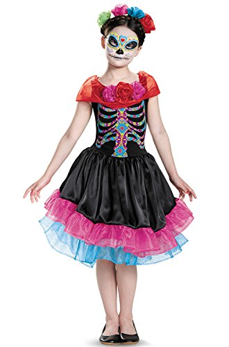 Day of The Dead Costume, Large/10-12 - Day Of The Dead Sugar Skull Costumes