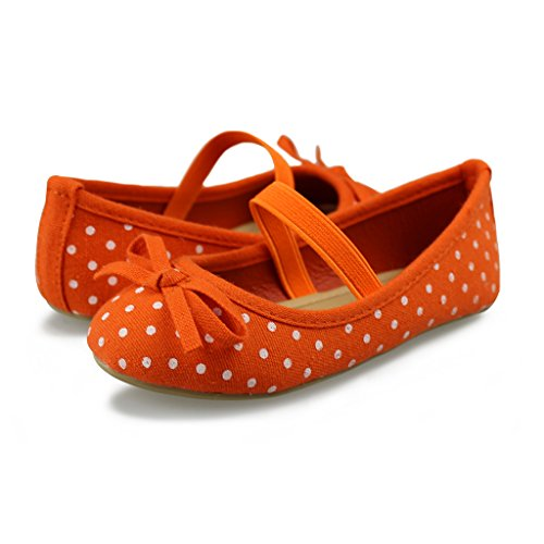 Hawkwell Mary Jane Bow Ballerina Flat (Toddler/Little Kid/Big Kid),Orange Canvas,8 M US -