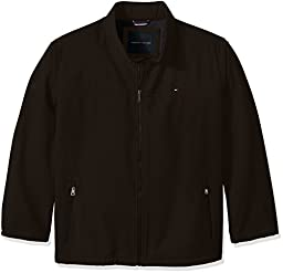 Tommy Hilfiger Men\'s Soft-Shell Classic Zip-Front Jacket with Tonal Logo At Back Neck, Black, 2X BIG