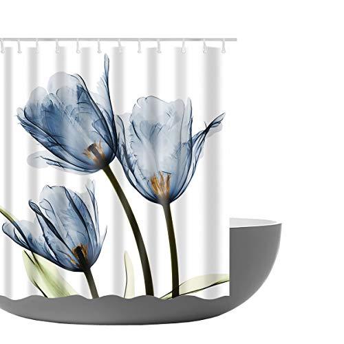 Amagical Lotus Decor Shower Curtain Lotus Flower Pattern Decorative Design Fabric Bathroom Decor Set with Hooks 72 x 72 in (Blue) (Lotus Fabric)