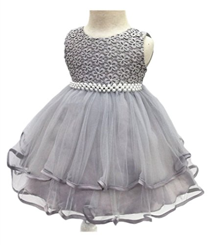 H.X Infant and Toddler Princess Pearl Tutu Special Occasion Dresses for Baby Girl's Wedding Party (6M/Fit 6-9 months, Grey)
