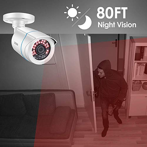 ZOSI 4 Pack 2MP 1080p HD-TVI Home Security Camera 1920TVL,80ft Night Vision, Weatherproof Outside Outdoor Indoor Surveillance CCTV Bullet Camera (Renewed)
