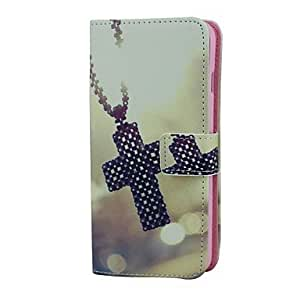 Cross Necklace Pattern PU Leather Full Body Case with Card Holder for iPhone 6