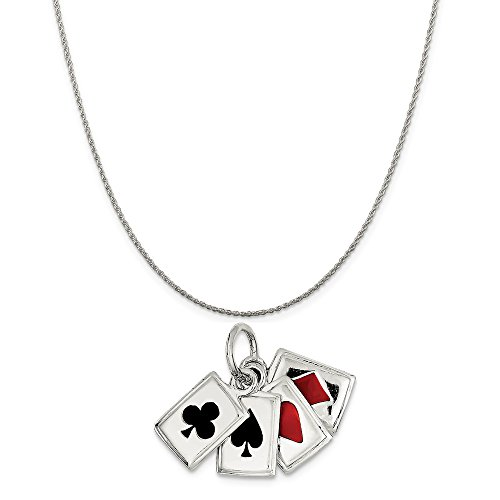 Sterling Silver Playing Card - Mireval Sterling Silver Enameled Playing Cards Charm on a Sterling Silver Rope Chain Necklace, 16