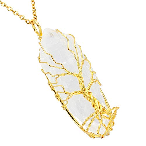 TUMBEELLUWA Stone Point Tree of Life Pendant Necklace,Raw Crystal Healing Wire Wrapped Chakra Handmade Jewelry for Women Men,Natural Clear Quartz(Gold Plated Wire Wrapped)