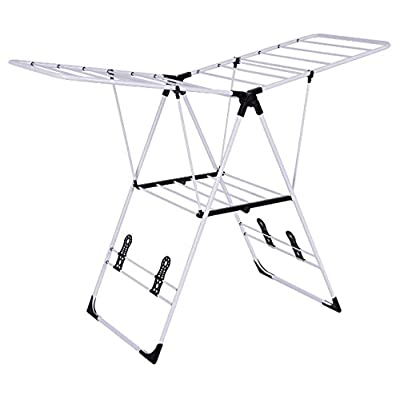 Black Rack Drying Clothes Indoor Outdoor Laudnry Storage Portable Heavy Duty Folding Dryer Hanger