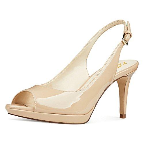 - YDN Women Formal Peep Toe Platform Pumps Mid Heels Slingback Office Shoes with Buckle Nude 8