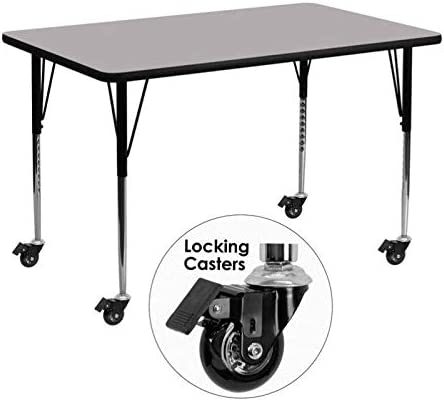 Bowery Hill 31 x 30 x 72 Mobile Activity Table in Gray