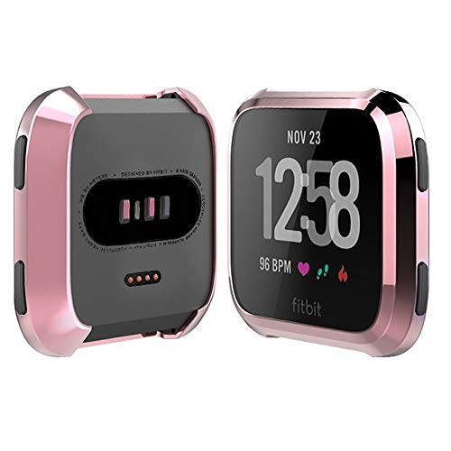 iHYQ Soft TPU Slim Fit Full Cover Screen Protector for Fitbit Versa Smart Watch, Pink Gold