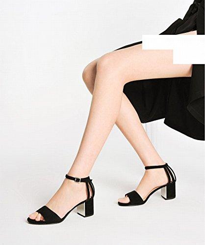 Boucles Chaussures Talons à C à Ouvert Grossiers Bout Unies Et CWJ avec qExAwfOqa