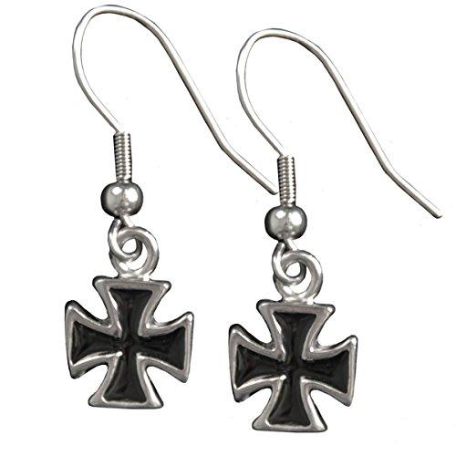 Iron Cross Earrings - Hot Leathers Women's Iron Cross Earrings (Silver, Size 1