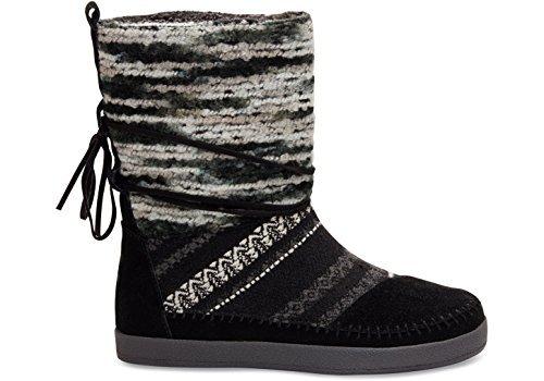 TOMS Women's Suede Textile Mix Nepal Black 10006219 (Size: 5.5)