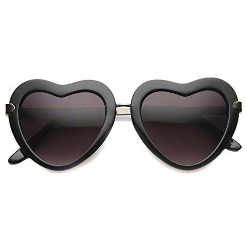 - Women's Metal Nose Bridge Mid Sitting Temple Heart Sunglasses 50mm (Shiny Black-Gunmetal/Lavender)