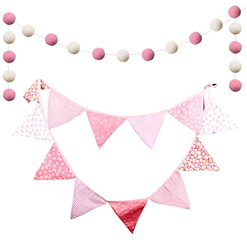 (Pink and White Bunting, Double Sided Pennant, Cotton Fabric Floral Banner with Pom Poms Garland for Party Birthday Nursery Bedroom Garden Baby Shower)