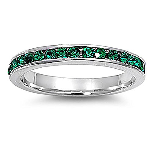 Lex & Lu 3mm Sterling Silver Dark Green CZ Eternity Comfort Band Ring Size 5-9
