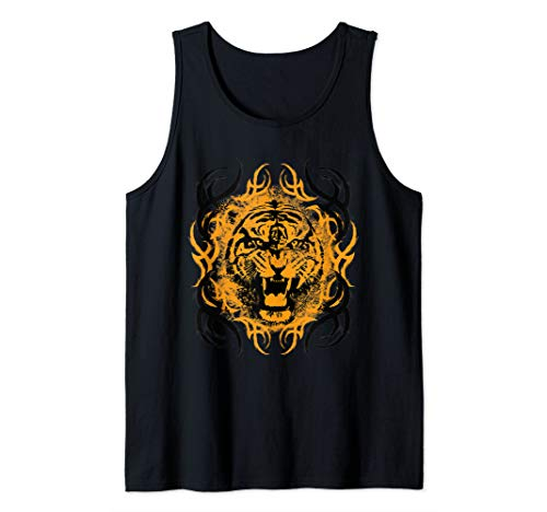 Gothic Style Roar Tiger Wildlife Biker Gift Tank Top (Mens Gothic Biker Clothes)