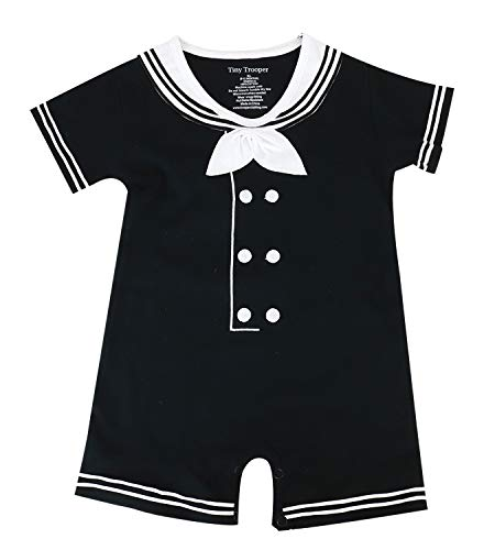 Trendy Apparel Shop Sailor Dapper Cracker Jack Infant Romper - Black - 3-6 Months