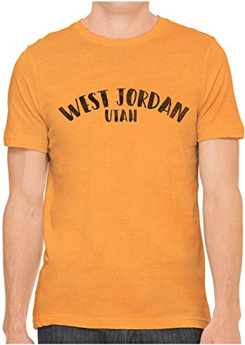Jordan Graphic Mens Classic Tee (Austin Ink Apparel Unisex Mens City of West Jordan Utah Cotton Fitted Jersey Graphic T-Shirt (Classic Orange, S))