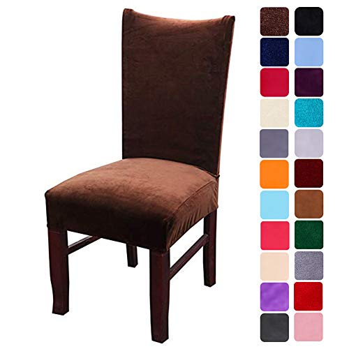 smiry Velvet Stretch Dining Room Chair Covers Soft Removable Dining Chair Slipcovers Set of 2, Coffee