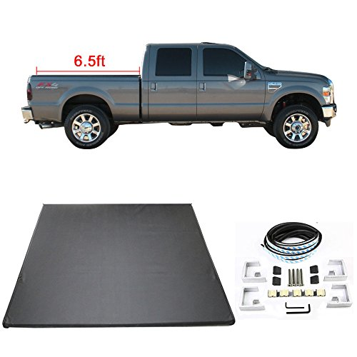 Tonneau Cover Fits 1999-2017 Ford F250/F350/F450/F550 | Tri-Fold Soft Style Double sided 24 oz vinyl Aluminum Black SuperDuty 6.5ft 78in Bed By IKON MOTORSPORTS | 000 2001 2002 2003 2004 2005 2006