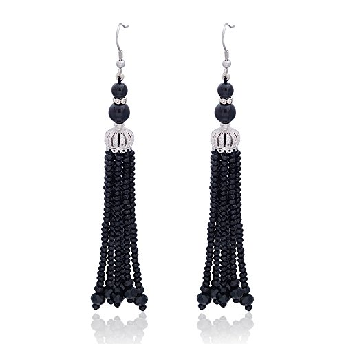 Anni Coco Women's Long Fringe Dangle Handmade Beaded Tassel Drop Earrings Black
