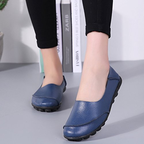 Mokassin Flache Hishoes Casual Damen Schuhe Loafers Fahren Blau Leder SzB7wq