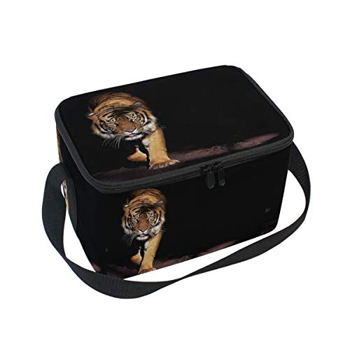 (Prowling Tiger Lunch Boxes Bag, Black Animal Portable Shoulder Waterproof Insulated Cooler Ice Tote Bag with Zipper Picnic Work Office)