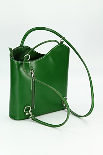 Shopper Shoulder Fine BELLI x W x Bag Leather cm Handbag also worn can as be Italian Backpack x Grn 28 D 8 x a 28 H FwtXrqw