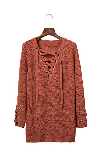 Las mujeres del vestido salvaje de encaje larga sección de cuello en V jersey nueva caída de la moda Orange