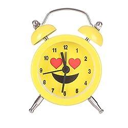 kaifongfu Alarm Clock,Emoji Emoticon Twin Bell Silent Alloy Stainless Metal Alarm Clock (Yellow A)