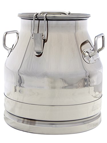 Stainless Steel Milk Can, Heavy Duty with Strong, Sealed Lid (5 Gallon)
