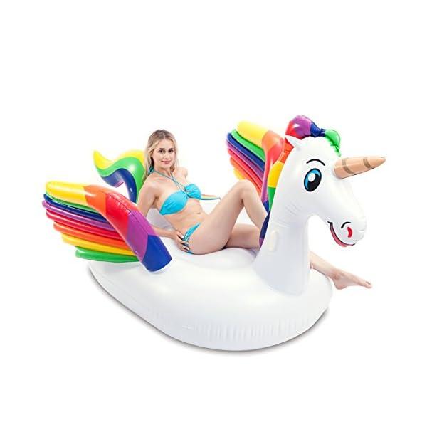 JOYIN Giant Inflatable Unicorn Pool Float with Wings, Alicorn/Pegasus Beach Floats, Swim Party Toys, Pool Island, Summer… 2