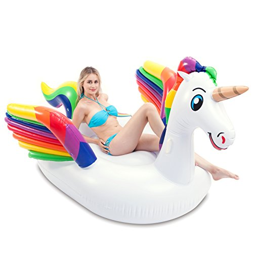 JOYIN Giant Inflatable Deluxe Unicorn Pool Float With Wings, Fun Beach Floaties, Swim Party Toys, Pool Island, Summer Pool Raft Lounge for Adults & Kids