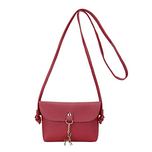 Wallet Deer Color Women Pouch Cellphone PU Small Shoulder Lady Leather Crossbody Purse Bag Single Red Candy avarW40f