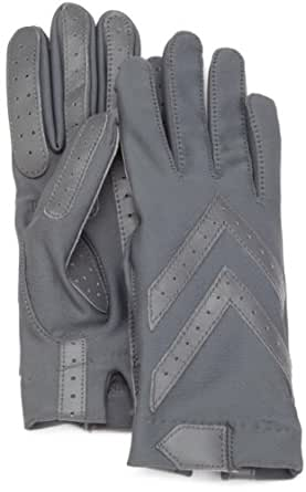 Isotoner Women's Shortie Glove with Leather Palm Strips, Charcoal, One Size