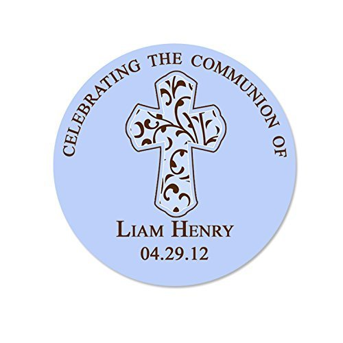 - Personalized Customized Baptism Party Favor Thank You Stickers - Filigree Style Traditional Cross - Solid Round Labels - Choose Your Size