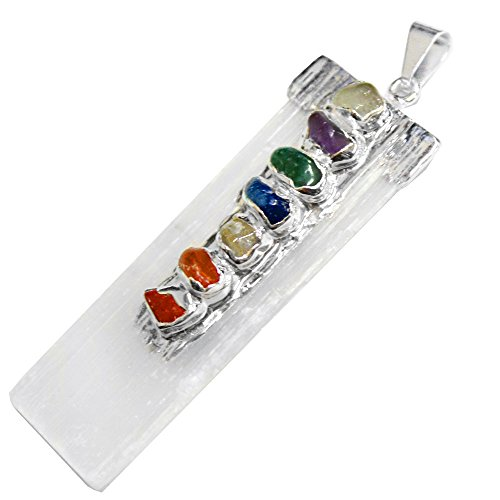 ONE Selenite Freeform Pendant w/ 7 Chakra Stone Accents Silver Plated Cap/Bail RP Exclusive COA ()
