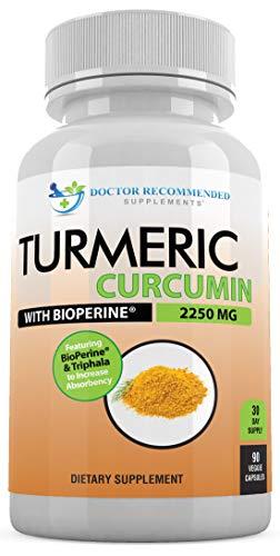Turmeric Curcumin - 2250mg/d - 90 Veggie Caps - 95% Curcuminoids with Black Pepper Extract (Bioperine) - 750mg Capsules - 100% Organic - Most Powerful Turmeric Supplement with Triphala Complex 90 Veggie Caps