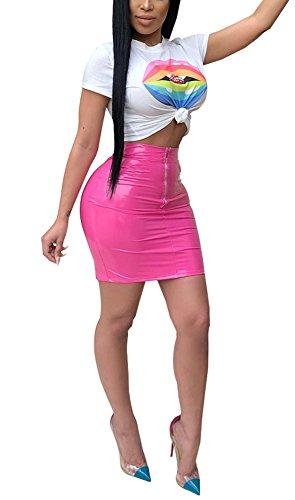 it Clubwear Lip Print Crop Top PU Leather Bodycon Mini Skirt Party Dress Rose XXL ()