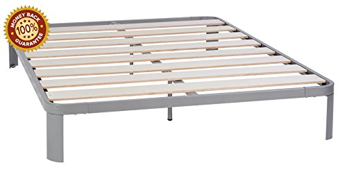 In Style Furnishings Modern Lunar Low Profile Platform Bed - Metal Frame Construction with Strong & Durable Slats in Grey, (Modern Style Platform)