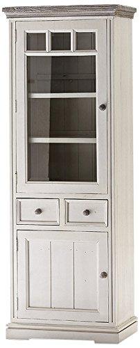 Robas Lund FW608T26 Opus Vitrine links, Kiefer weiß / white sanded, 2 Türen / 2 Schubkästen, circa 73 x 200 x 45 cm