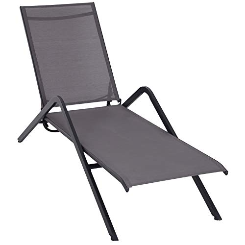 - Outsunny Steel Mesh Adjustable Portable Folding Outdoor Chaise Lounge Chair - Grey