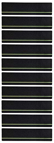 Stair Treads Collection Indoor/Outdoor Glow in The Dark Stripe Pre Cut 80 Grit Extra Friction Anti Slip Safety Strips Non Skid Adhesive Stair Treads (6 inch x 24 inch) (Glow in The Dark, Set of 10)