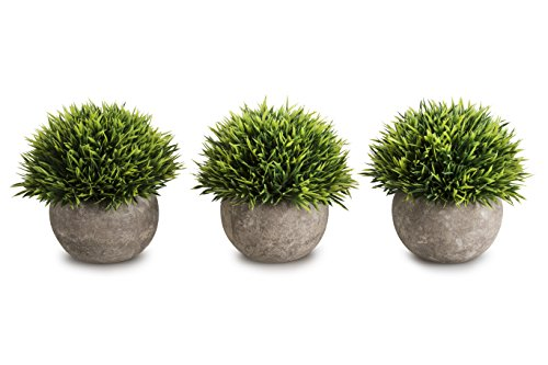 OPPS Mini Artificial Plants Plastic Fake Green Grass Topiary Shrubs with Gray Pot for Home Décor - Set of 3