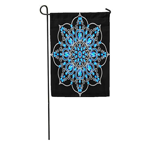 Semtomn Garden Flag Christmas Snowflake Crystal Precious Beautiful Jewelry Medallion Brooch on Neck Home Yard House Decor Barnner Outdoor Stand 28x40 Inches Flag