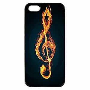 Flaming treble clef Custom Image Case iphone 4 case , iphone 4S case, Diy Durable Hard Case Cover for iPhone 4 4S , High Quality Plastic Case By Argelis-sky, Black Case New