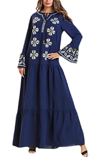 Wofupowga Womens Autumn Swing Abaya Pleated Embroidered for sale  Delivered anywhere in USA